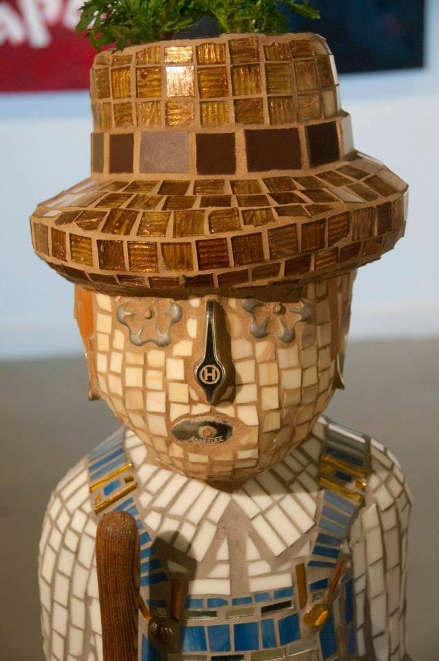 """The Farmer"" Mixed Media Mosaic Sculpture"