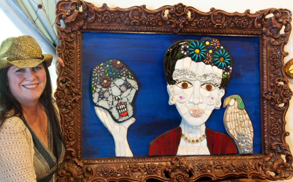 """sherry with """"Frida and her parrot Bonito."""" Mosaic"""