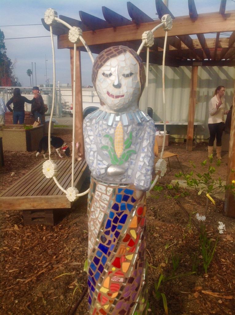 """Andrea"" Mixed Media Mosaic Sculpture at St. Vinnie's Garden, Vallejo, CA"